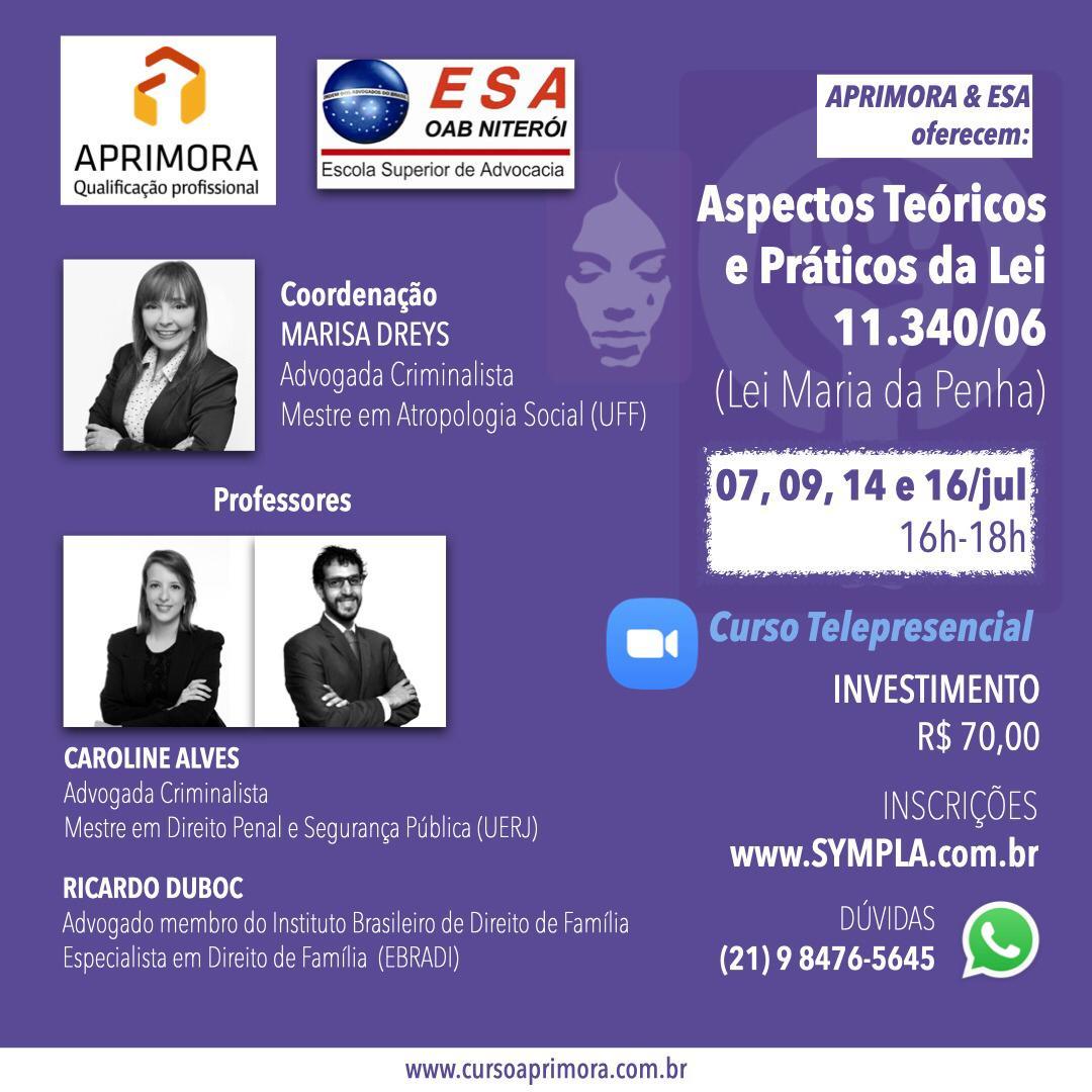 Curso telepresencial 'ASPECTOS TEÓRICOS E PRÁTICOS DA LEI 11.340/06 (Lei Maria da Penha)'